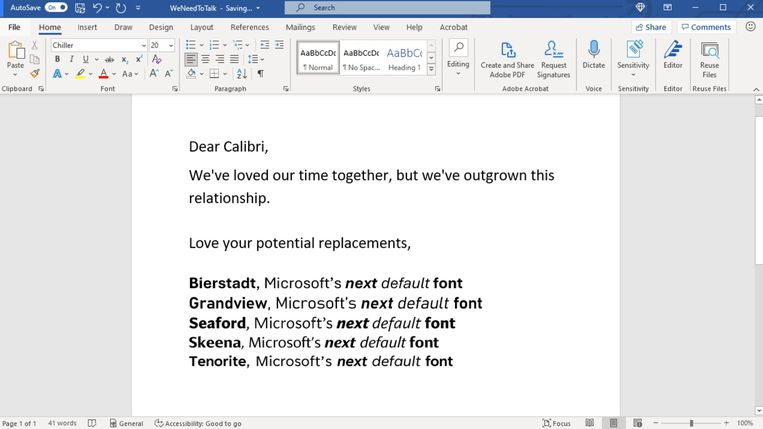 Vijf opties van lettertypes die Calibri kunnen vervangen als standaardletter in Microsoft Word. Beeld Microsoft