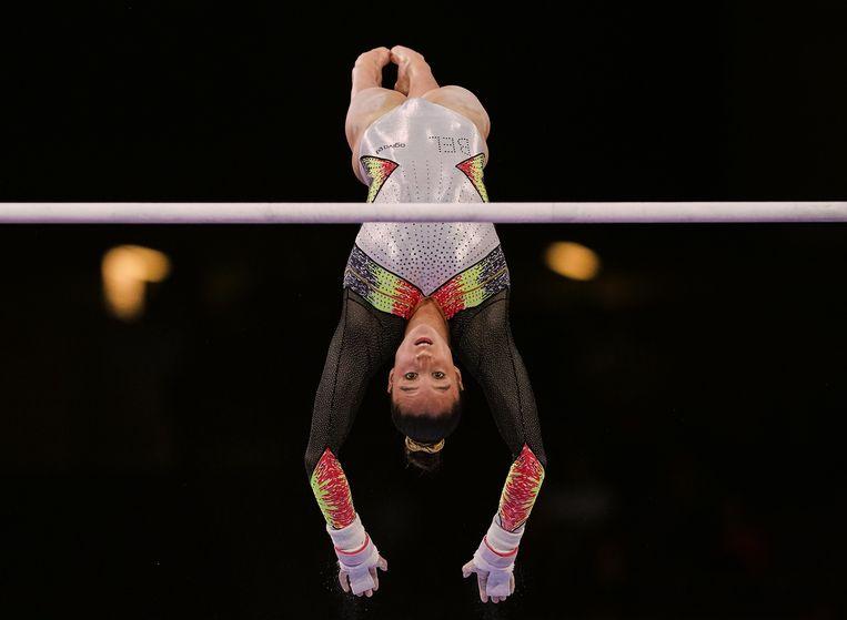 De Belgische turnster Nina Derwael. Beeld NurPhoto via Getty Images