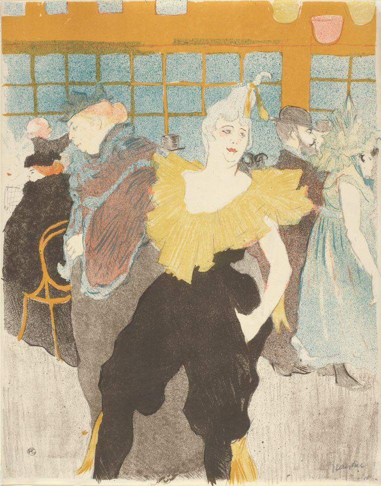 Henri de Toulouse-Lautrec, 'De clown in de Moulin rouge (La clownesse au Moulin rouge)' in het Van Gogh Museum. Beeld (Vincent van Gogh Stichting) 
