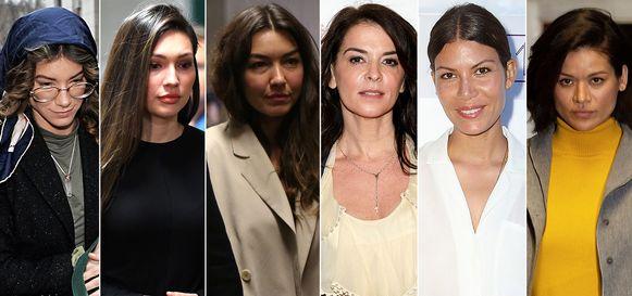 De zes vrouwen die getuigden op het proces van Weinstein: (v.l.n.r.) Lauren Young, Jessica Mann, Miriam Haley, Annabella Sciorra, Dawn Dunning en Tarale Wulff.