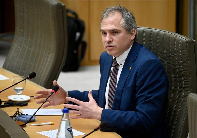 Vlaams minister van Begroting Matthias Diependaele (N-VA): 'We hebben onze verantwoordelijkheid opgenomen'. Beeld Photo News