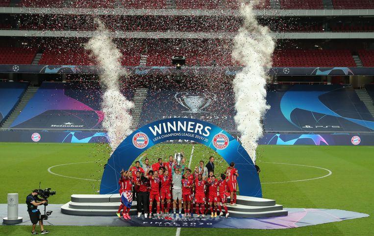 Bayern München viert de eindwinst van de Champions League. Beeld Getty Images