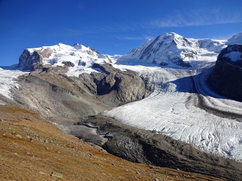 De Gornergletsjer in Zwitserland is de op een na grootste gletsjer van de Alpen.  Deze foto is gemaakt in de zomer van 2017.