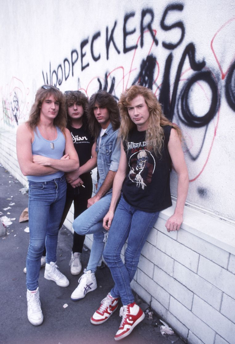 Megadeth in 1987: David Ellefson, Chuck Behler, Jeff Young en Dave Mustaine. Beeld Chris Walter/WireImage