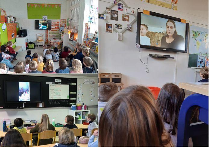 De filmpjes tijdens de Grote Voorleesdag in basisschool Christus-Koning.