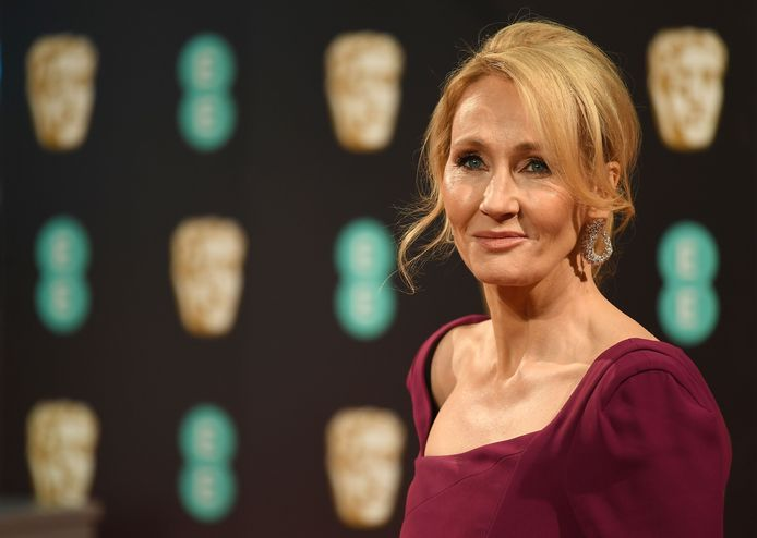 """(FILES) In this file photo taken on February 12, 2017 British author J. K. Rowling poses upon arrival at the BAFTA British Academy Film Awards at the Royal Albert Hall in London on February 12, 2017. - """"Harry Potter"""" creator JK Rowling said on on August 28, 2020 she would give back an award presented by the US Kennedy family after one of its members criticised her for her views on gender issues. (Photo by Justin TALLIS / AFP)"""