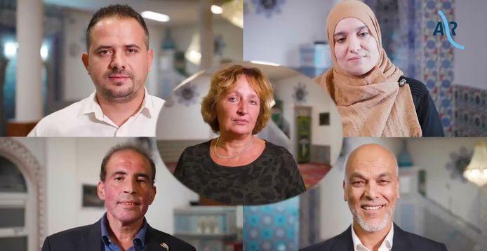 Burgemeester Liesbeth Spies met van linksboven met de klok mee: Murat Uguz van de Haci Bayram Camii, Seloua Boudadi van de Itihad, Mohamedi Yachou van El Fath en Mohamed Benhaddou van de Arrahman-moskee.