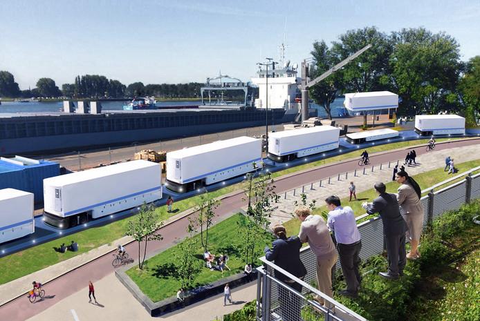 In een Robothaven bijvoorbeeld wordt de vracht uit containers niet vervoerd met diesel vrachtwagens maar via autonoom rijdende elektrische karren.