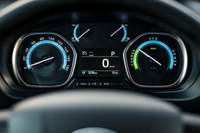 Een aangepast instrumentenpaneel in de elektrische versies: de Eco-meter laat zien hoe veel stroom de auto gebruikt