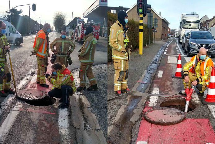 Onder meer de brandweer kwam ter plaatse voor een inspectie van de riolering.
