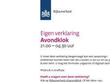 Lingewaard en Overbetuwe zetten vrijstellingsbewijs avondklok op gemeentepagina