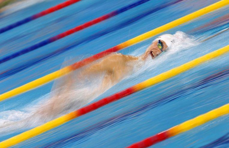 De Chinese Yun Sang zwemt naar zijn gouden medaille op de 1500 meter vrije slag. Beeld ANP