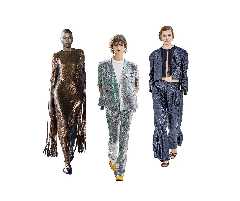 Glitterjurken, v.l.n.r. Valentino, Louis Vuitton en Chanel. Beeld rv