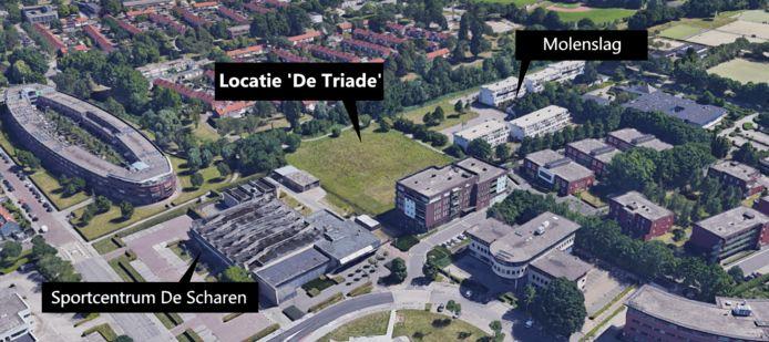 Locatie van bouwproject De Triade in Breda.
