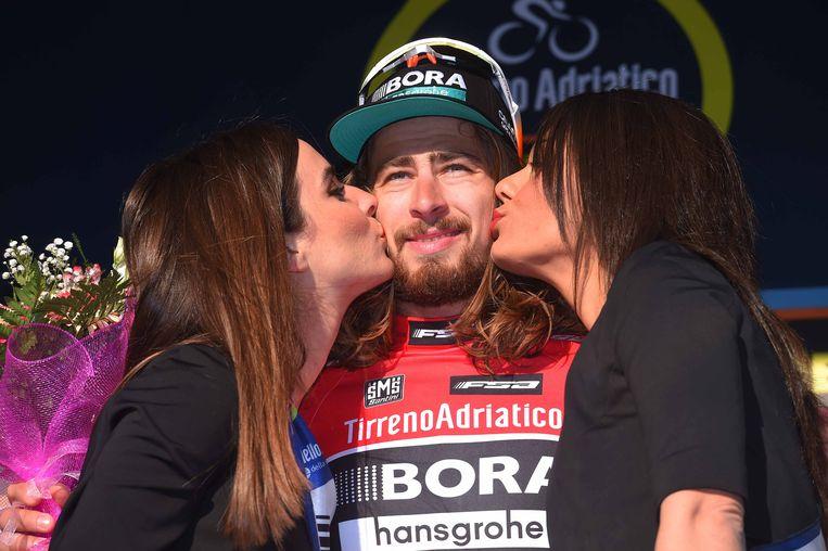 Peter Sagan in Tirreno-Adriatico: lange haren en woeste gezichtsbegroeiing. Beeld TDW