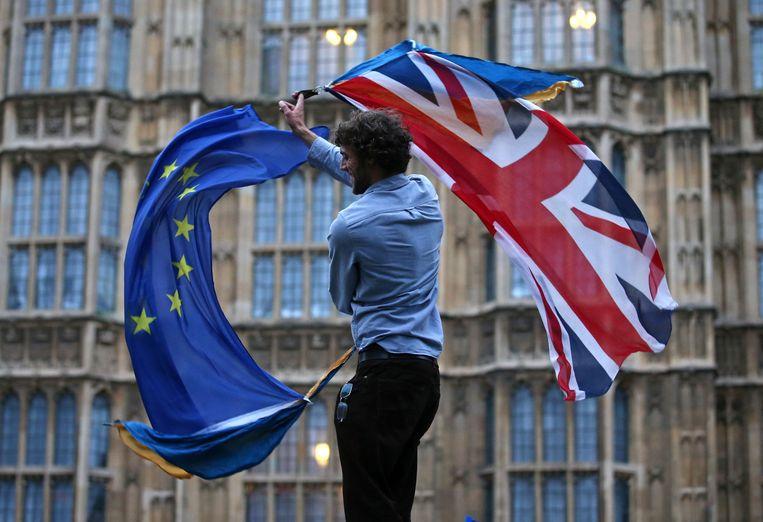 Bij het Britse parlement zwaait een man met de vlaggen van het Verenigd Koninkrijk en de Europees Unie. Beeld AFP