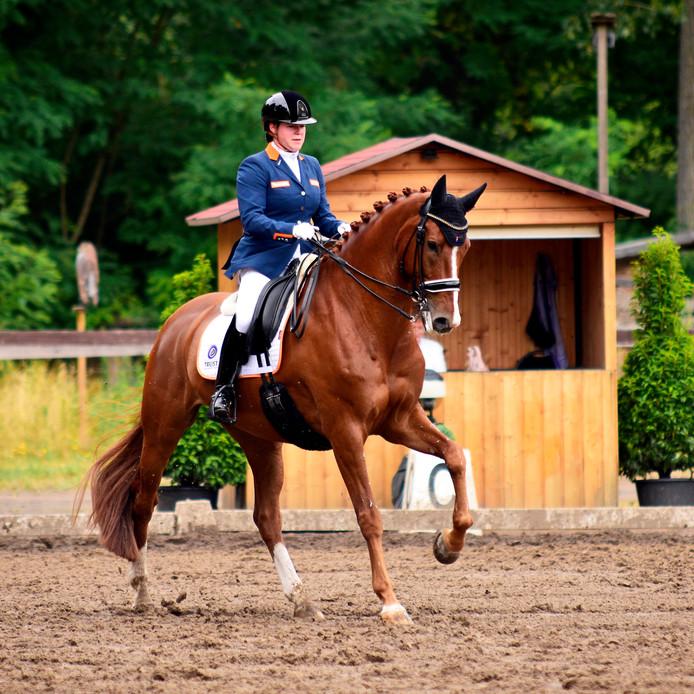 Sanne Voets in actie op de EK in Rotterdam op haar paard Demantur.