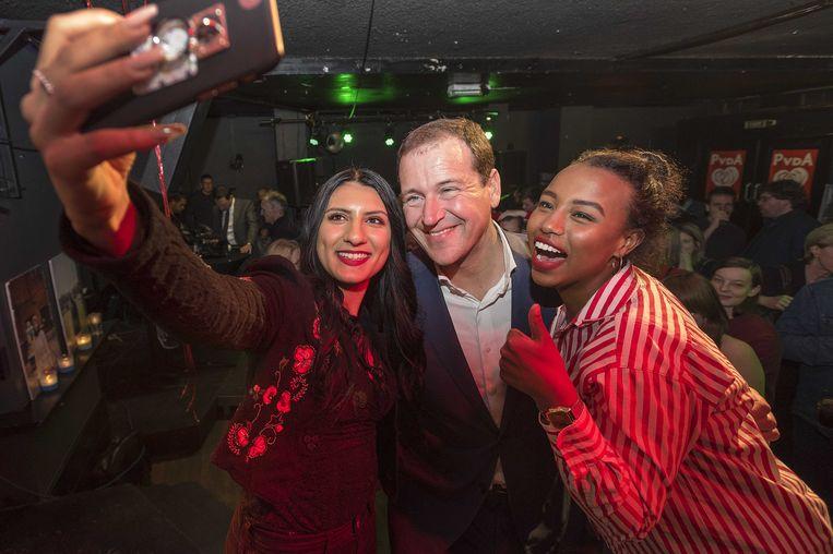 Lodewijk Asscher van de PvdA tijdens de uitslagenavond na afloop van de gemeenteraadsverkiezingen. Beeld anp