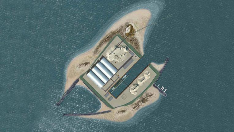 Tekening van de zandwinningslocatie in het IJsselmeer. Beeld