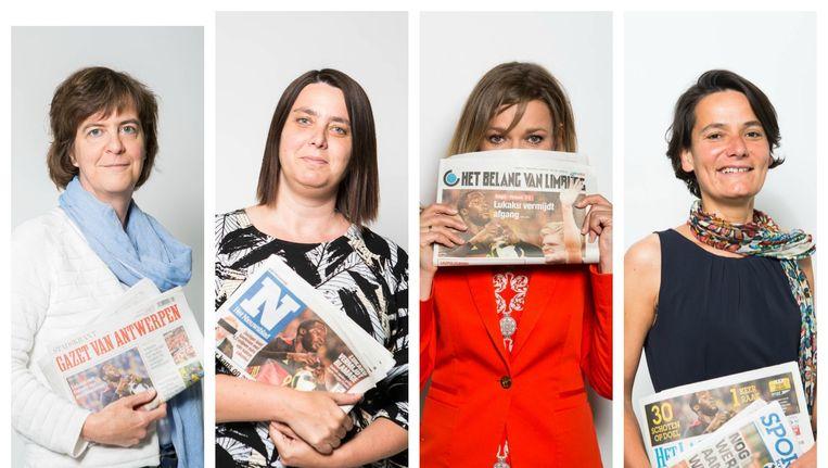 Hoofdredactrices Kris Vanmarsenille (Gazet van Antwerpen), Liesbeth Van Impe (Het Nieuwsblad), Indra Dewitte (Het Belang van Limburg) en Isabel Albers (Het Laatste Nieuws). Beeld Thomas Legreve