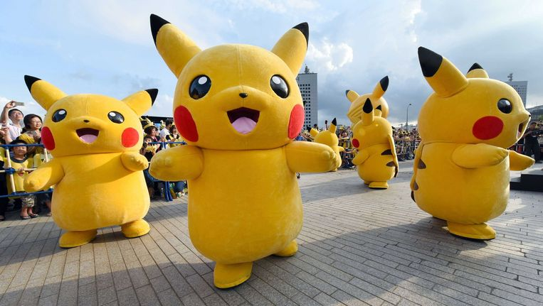 Pikachu, Pokémon-mascotte (en nummer 25 in de National Dex) is ook blij. Beeld afp