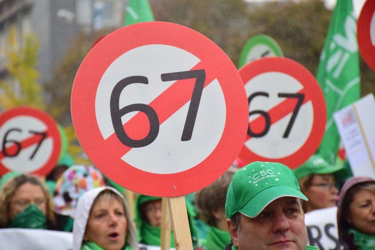 Ook in oktober werd al geprotesteerd tegen de pensioenmaatregelen van de regering. Beeld BELGA