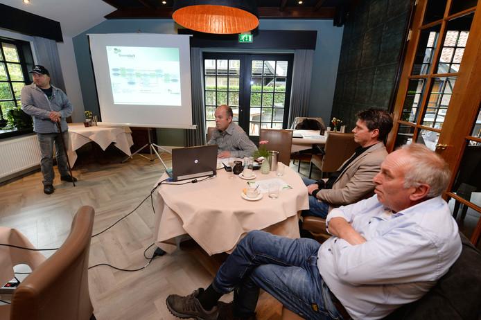 Boeren presenteren hun plannen voor een 'struvietbatterij' aan provinciale politici.