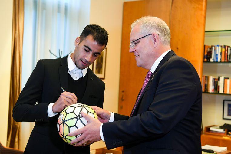 Hakeem Al Araibi met de Australische premier Scott Morrison.