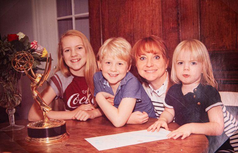 Bianca Krijgsman met kinderen Lizzy, Bobby en Lynn.  Beeld rv