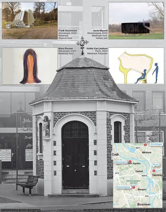 De eerste schetsen van de nieuwe veldkapellen. In het midden de Rochuskapel in Boxmeer.