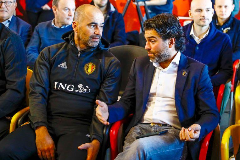 Mehdi Bayat met bondscoach Roberto Martínez: 'Met het vertrek van Mehdi kiest de bond voor de vlucht vooruit, uit vrees voor de mediastorm die zal losbarsten.' Beeld Photo News