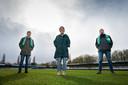 Tommy Kolkman, Elisa Kuster en Krien de Jong (v.l.n.r.) maakten een podcast over de verdwenen kampioensschaal van Dordrecht'90.