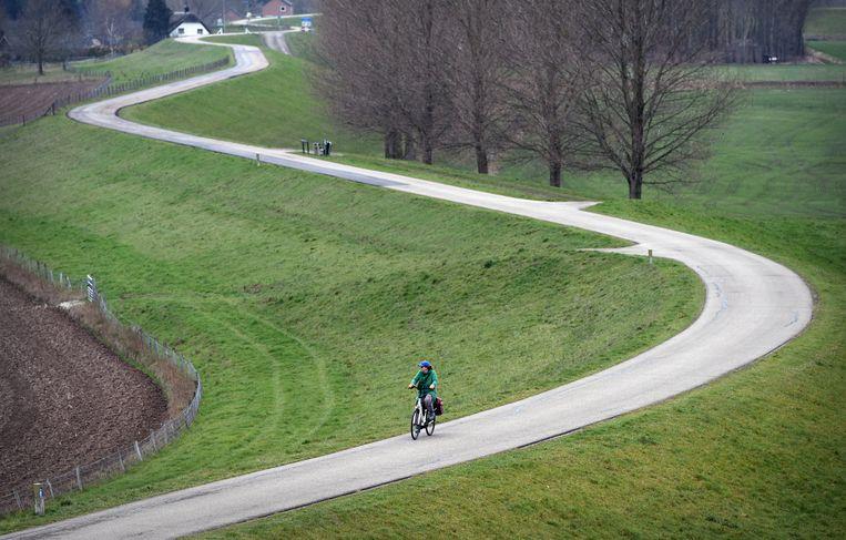 Een fietser op de Waaldijk bij Wamel. Hemingway: 'Een landschap ervaar je pas echt op een fiets.' Beeld Marcel van den Bergh