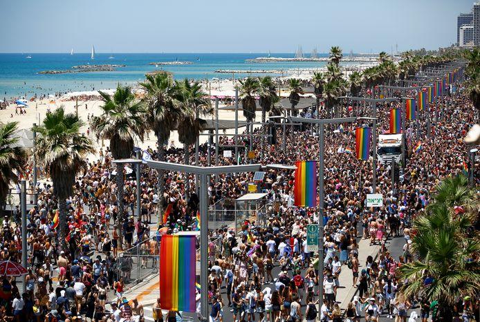 De Gay Pride Parade 2021 in Tel Aviv, Israël.