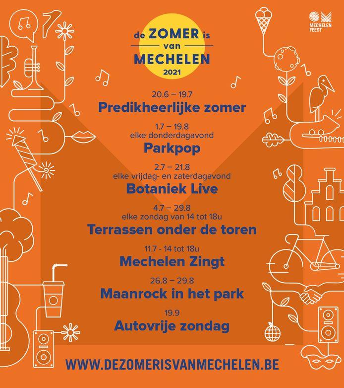 Het programma van De Zomer is van Mechelen 2021.