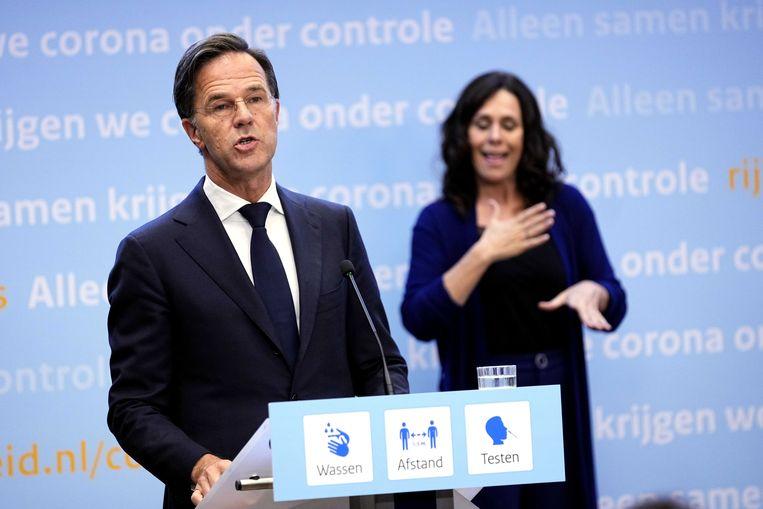 Premier Rutte zei tijdens de personferentie dat het kabinet verrast is door de ontwikkeling van de deltavariant. Beeld ANP