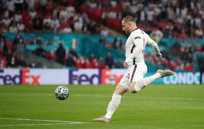 Luke Shaw met de trap die goed was voor het openingsdoelpunt in de finale tegen Italië.