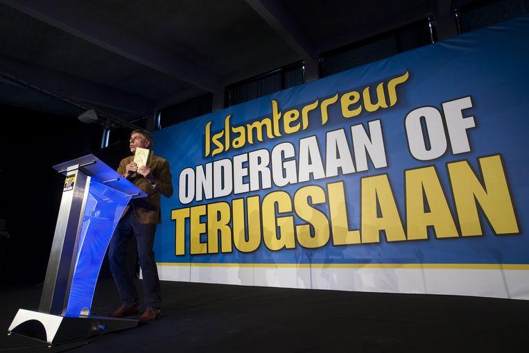 Filip Dewinter (Vlaams Belang) tijdens een partijcongres. Beeld belga
