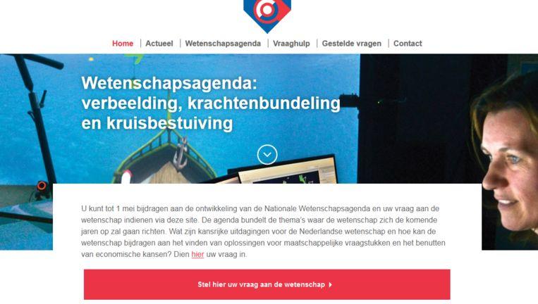 De website wetenschapsagenda.nl. Beeld