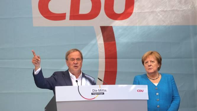 """Duitsers moeten volgens Merkel op Laschet stemmen voor """"toekomst van Duitsland"""""""