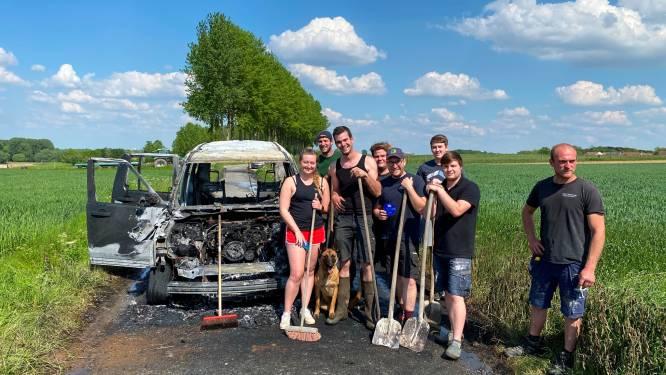 """Jeep brandt volledig uit op Kampenheuvel: """"Maar in nood kent men zijn vrienden"""""""