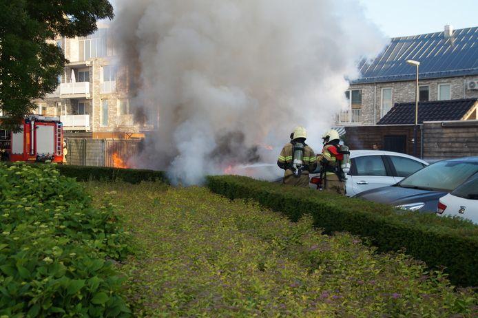 Brandweerlieden aan het werk in Drunen.