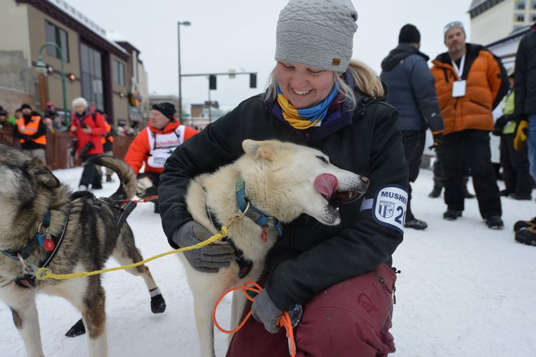 Handler Martha Sortland with a dog from Mats Pettersson's team at the ceremonial start of the Iditarod dog sled race in Anchorage, Alaska, U.S. March 3, 2018.  REUTERS/Mark Meyer Beeld REUTERS