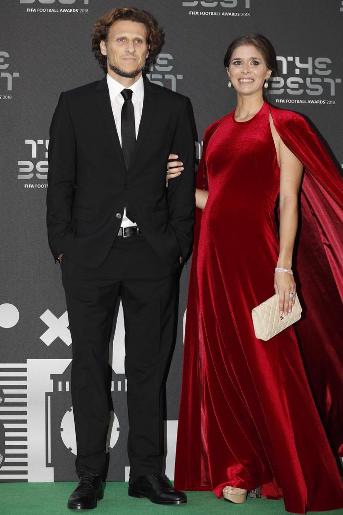 Diego Forlan en zijn vrouw Paz Cardoso.