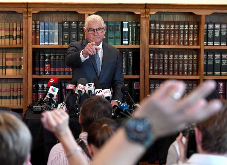 Leslie Mark Stovall gaf afgelopen woensdag een persconferentie in Las Vegas rond de zaak van zijn cliënte Kathryn Mayorga.
