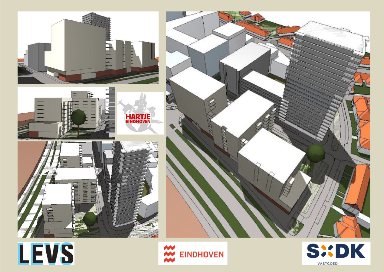 Een eerste zogenaamde massastudie van het plan SDK Vastgoed en LEVS architecten voor woningen op de parkeergarage van Hartje Eindhoven aan de PSV-laan in Eindhoven.