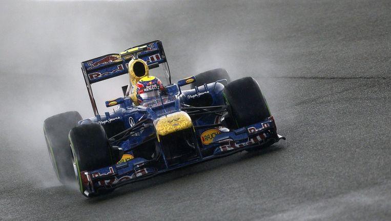 Mark Webber op het circuit van Silverstone. Beeld epa