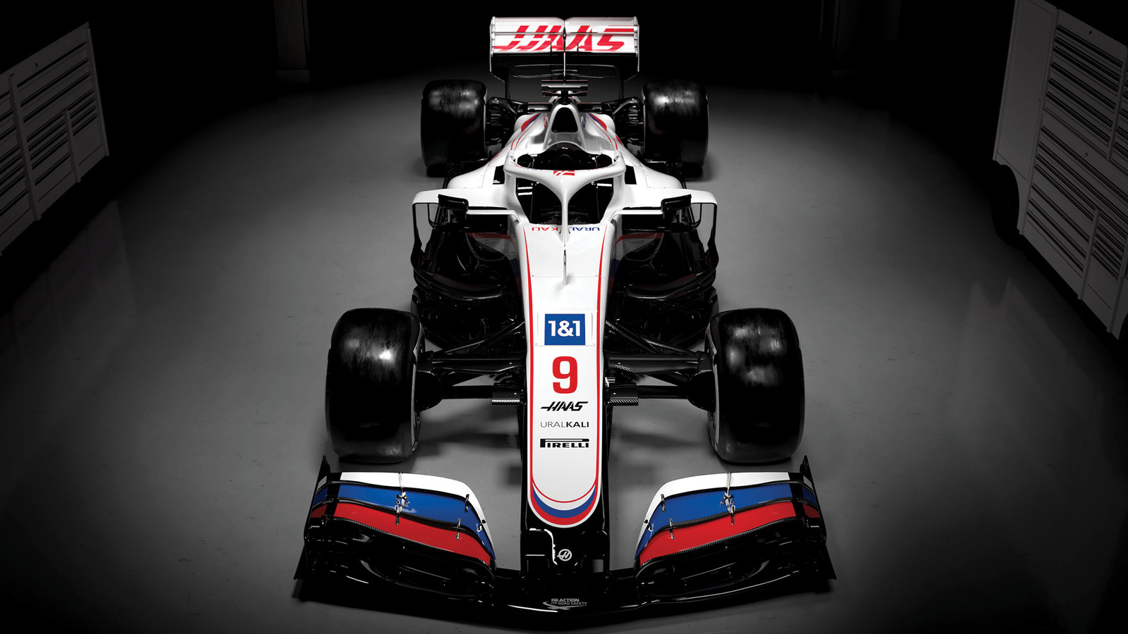 De nieuwe F1-auto van Haas.