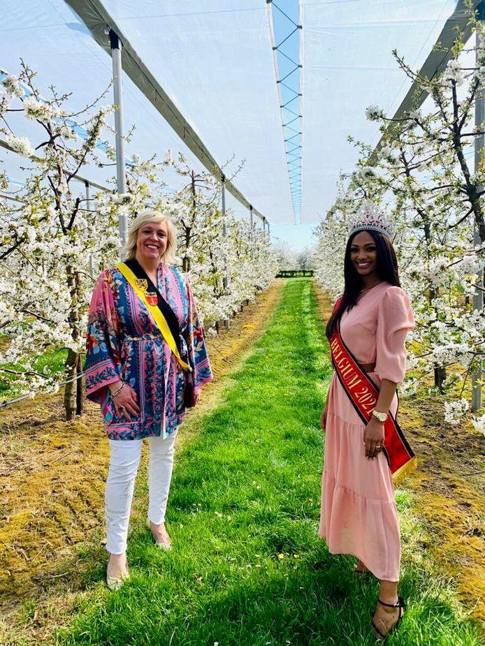 De kersverse Miss België van dit jaar ging donderdagnamiddag op bezoek in Sint-Truiden tussen de mooie bloesems van de stad.