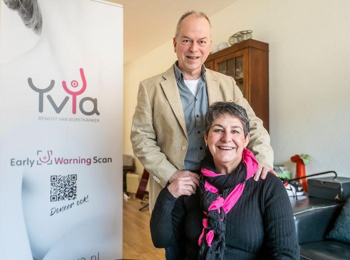 Paulette Kreté en Tom Sanders; borstkanker leidde tot de ontwikkeling van een nieuwe methode van borstkankeronderzoek. .